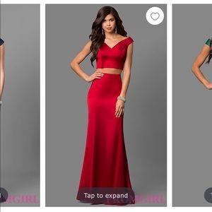 Sherri Hill 100% polyester satin two piece dress